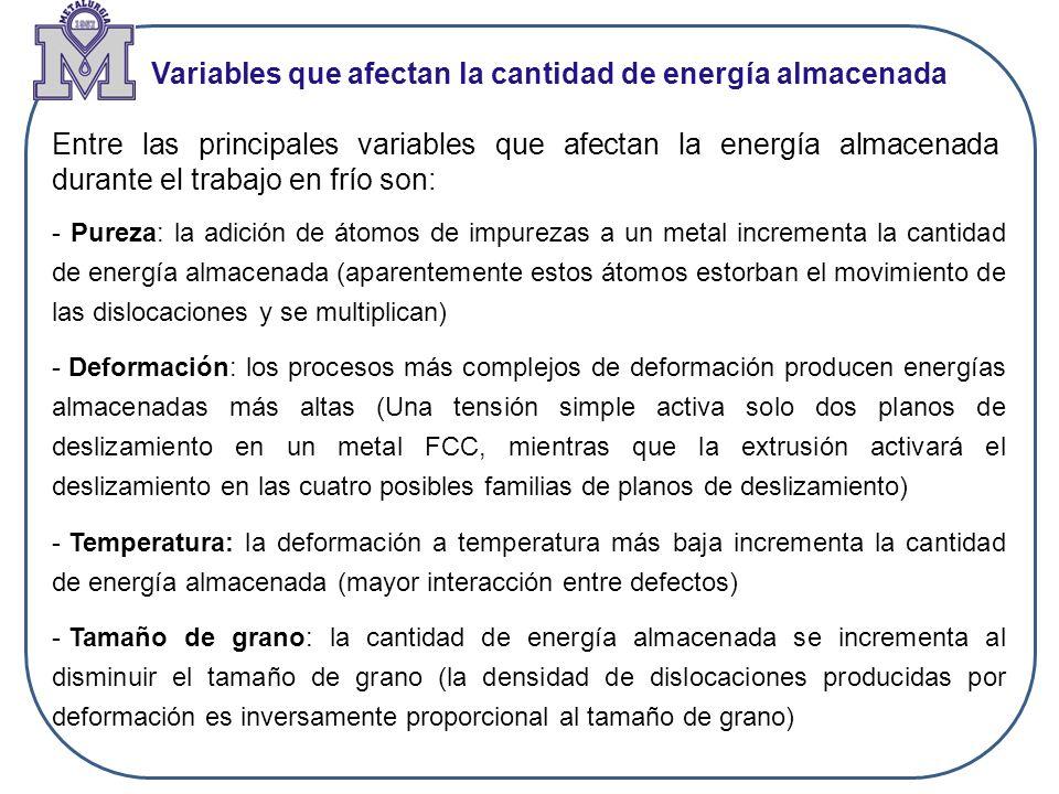 Variables que afectan la cantidad de energía almacenada