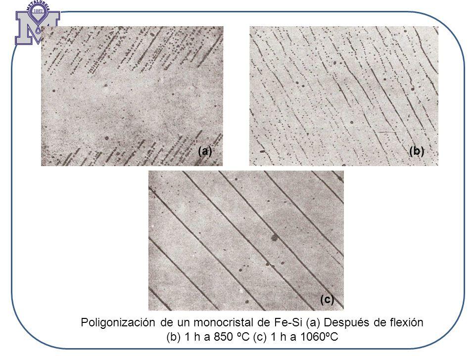 Poligonización de un monocristal de Fe-Si (a) Después de flexión