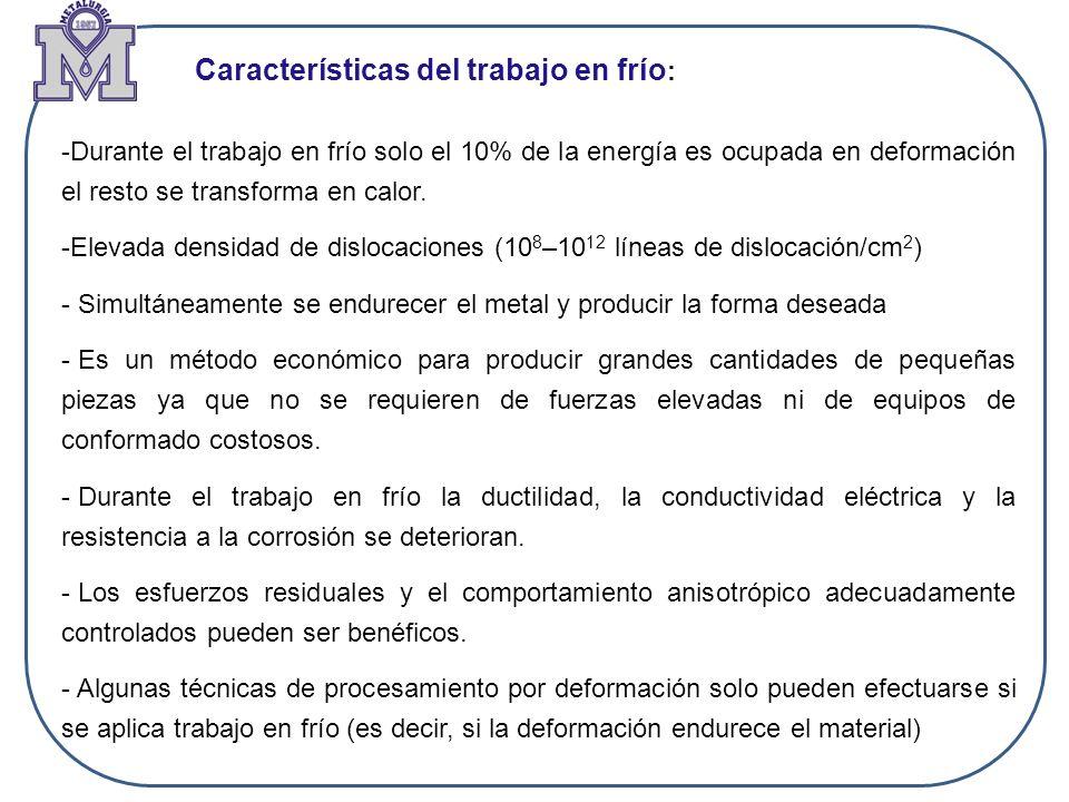 Características del trabajo en frío: