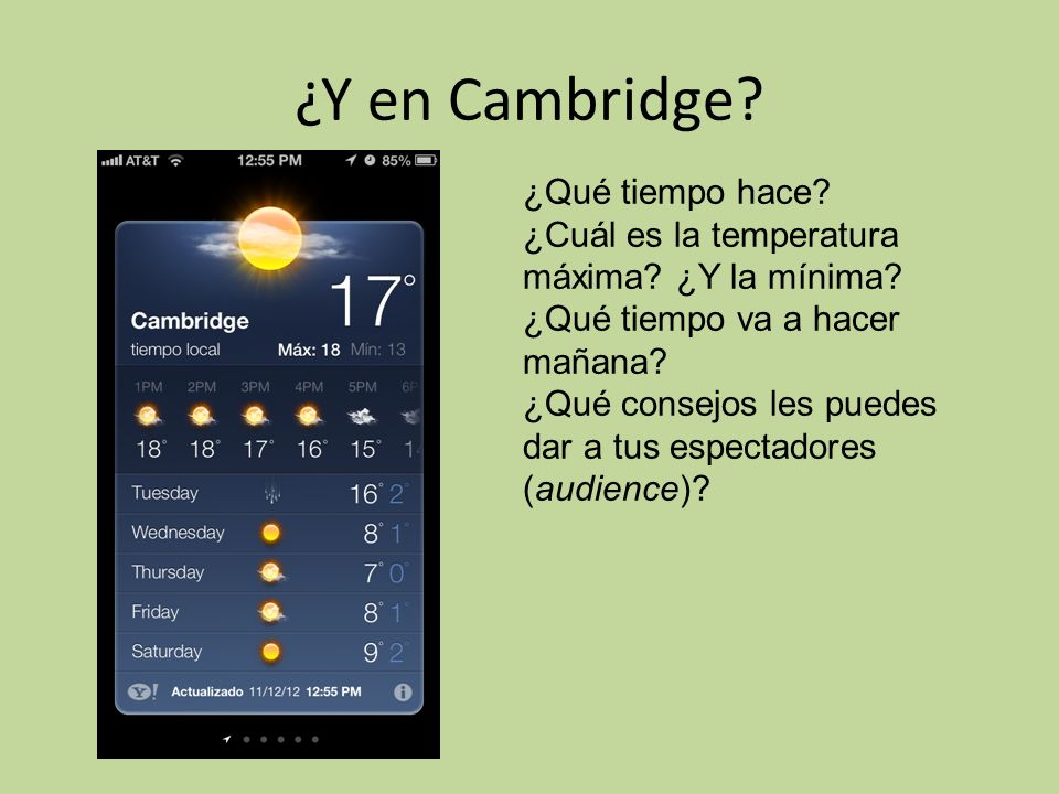 ¿Y en Cambridge ¿Qué tiempo hace