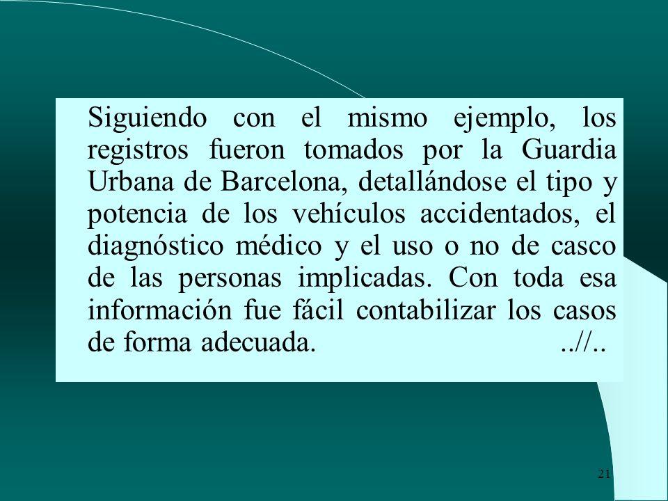 Siguiendo con el mismo ejemplo, los registros fueron tomados por la Guardia Urbana de Barcelona, detallándose el tipo y potencia de los vehículos accidentados, el diagnóstico médico y el uso o no de casco de las personas implicadas.