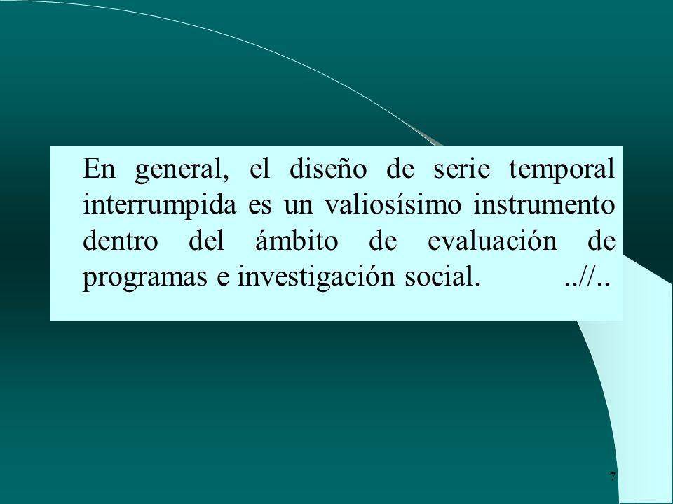En general, el diseño de serie temporal interrumpida es un valiosísimo instrumento dentro del ámbito de evaluación de programas e investigación social.