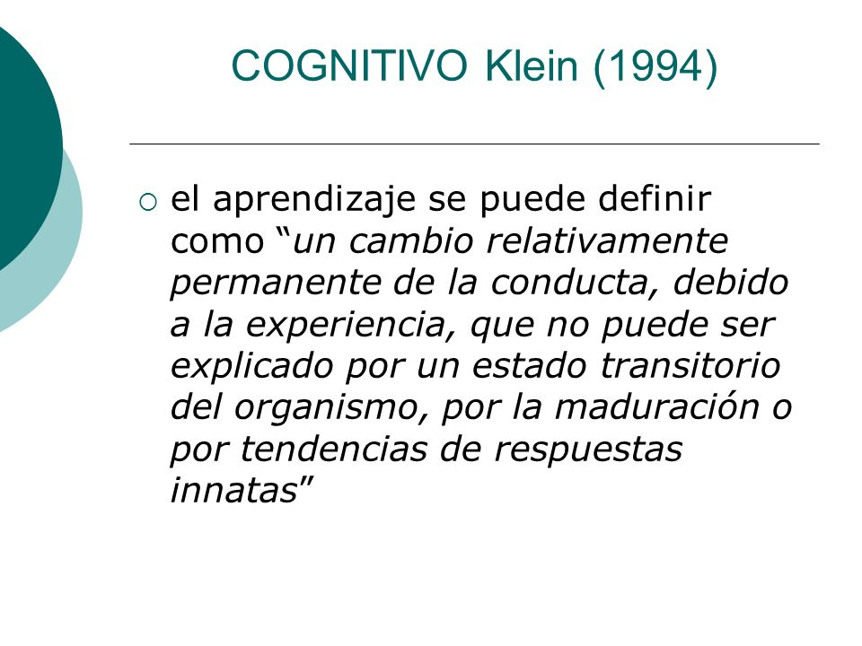 COGNITIVO Klein (1994)