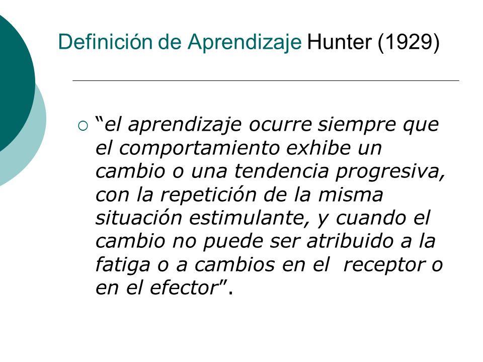 Definición de Aprendizaje Hunter (1929)