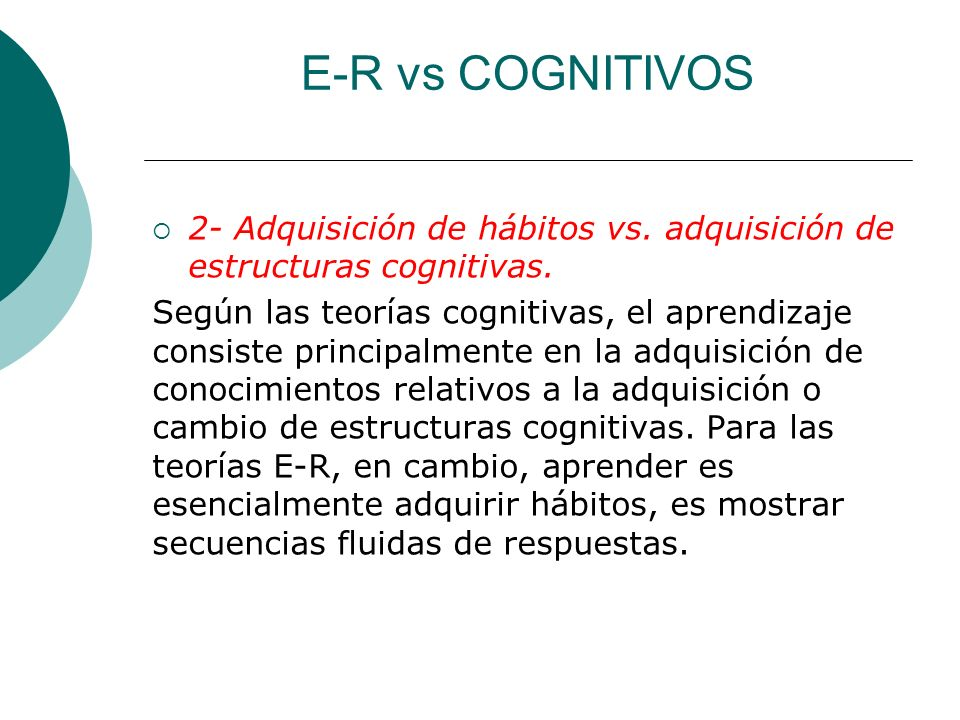 E-R vs COGNITIVOS 2- Adquisición de hábitos vs. adquisición de estructuras cognitivas.