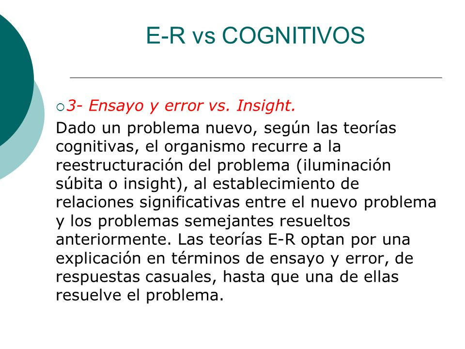 E-R vs COGNITIVOS 3- Ensayo y error vs. Insight.