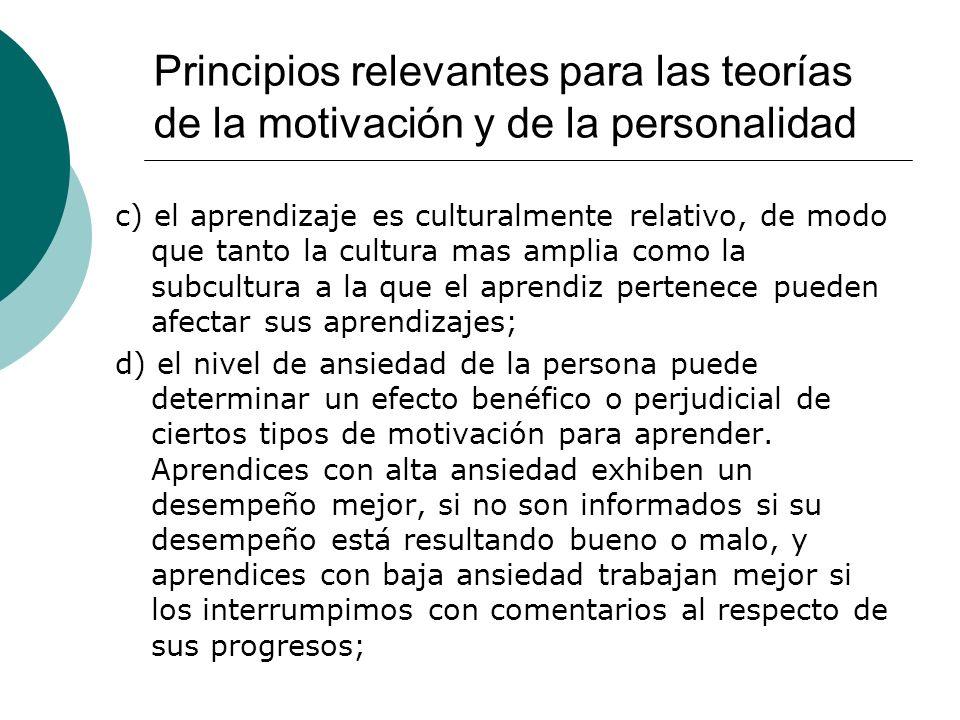 Principios relevantes para las teorías de la motivación y de la personalidad