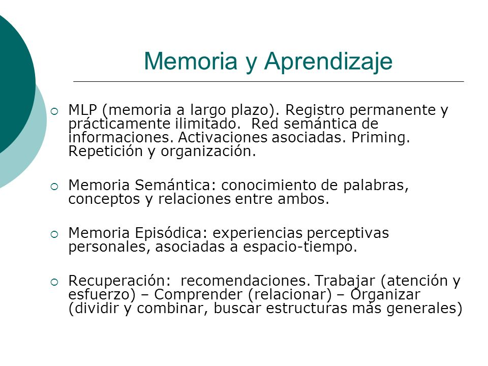 Memoria y Aprendizaje