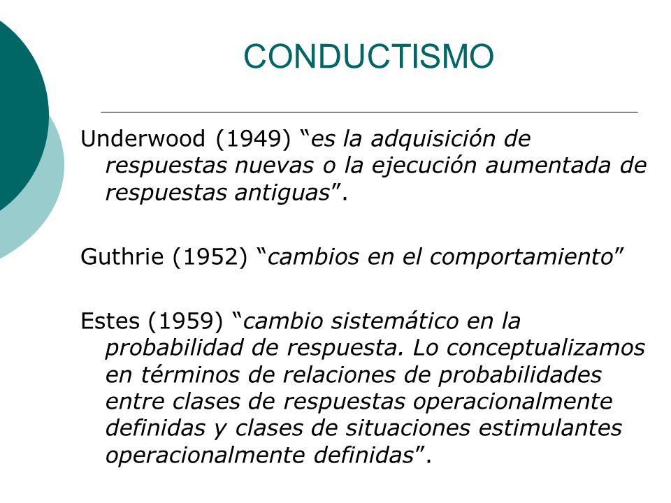 CONDUCTISMO Underwood (1949) es la adquisición de respuestas nuevas o la ejecución aumentada de respuestas antiguas .