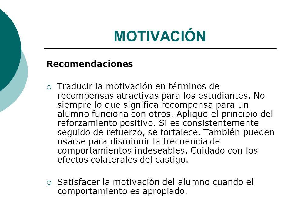 MOTIVACIÓN Recomendaciones