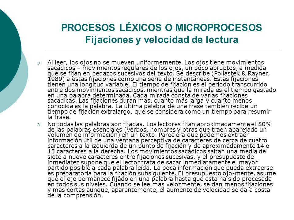 PROCESOS LÉXICOS O MICROPROCESOS Fijaciones y velocidad de lectura