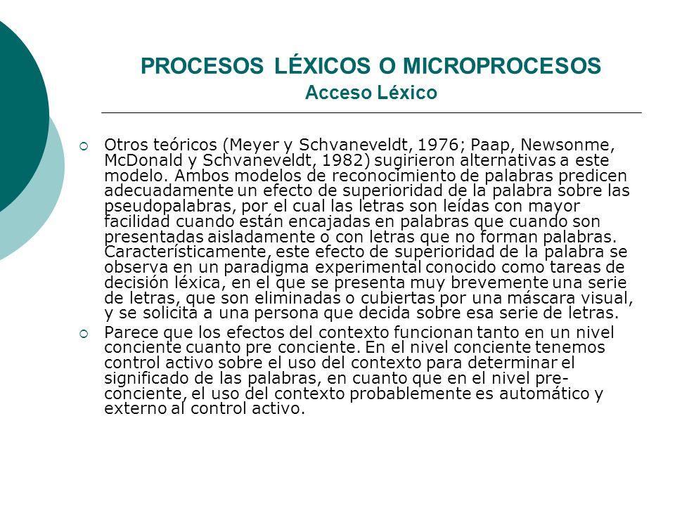 PROCESOS LÉXICOS O MICROPROCESOS Acceso Léxico