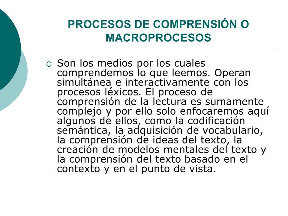 PROCESOS DE COMPRENSIÓN O MACROPROCESOS
