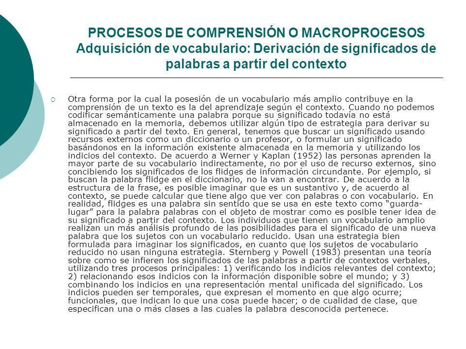 PROCESOS DE COMPRENSIÓN O MACROPROCESOS Adquisición de vocabulario: Derivación de significados de palabras a partir del contexto