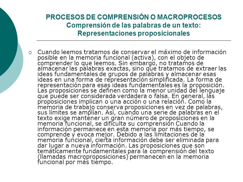 PROCESOS DE COMPRENSIÓN O MACROPROCESOS Comprensión de las palabras de un texto: Representaciones proposicionales