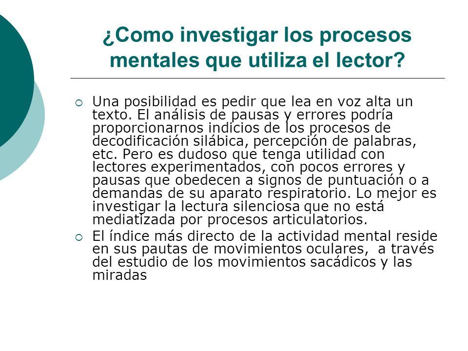 ¿Como investigar los procesos mentales que utiliza el lector