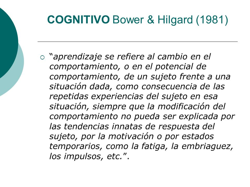 COGNITIVO Bower & Hilgard (1981)