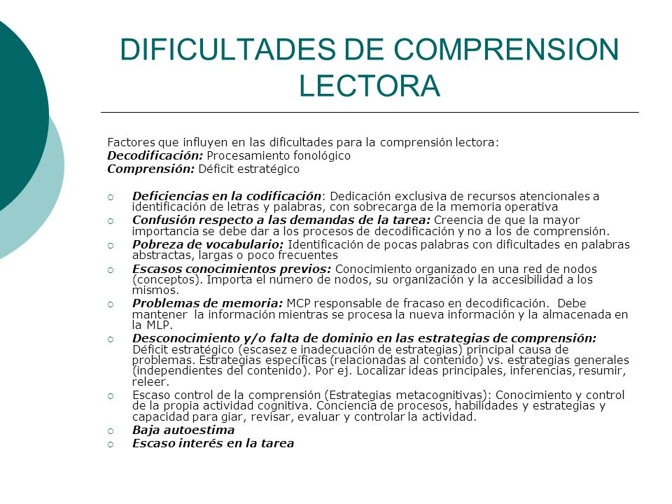 DIFICULTADES DE COMPRENSION LECTORA