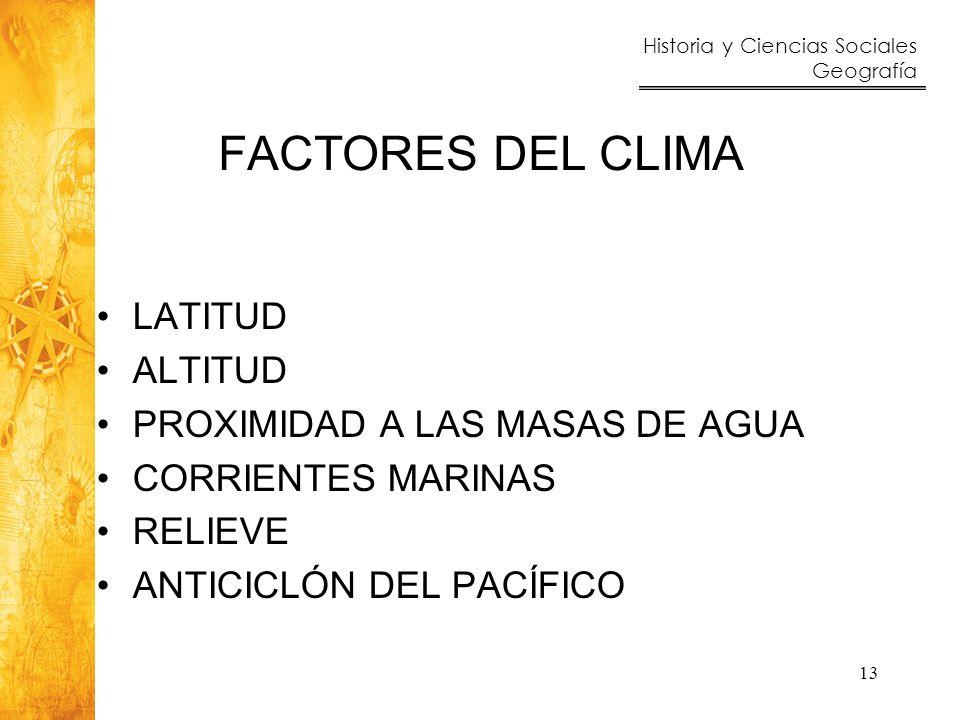 FACTORES DEL CLIMA LATITUD ALTITUD PROXIMIDAD A LAS MASAS DE AGUA