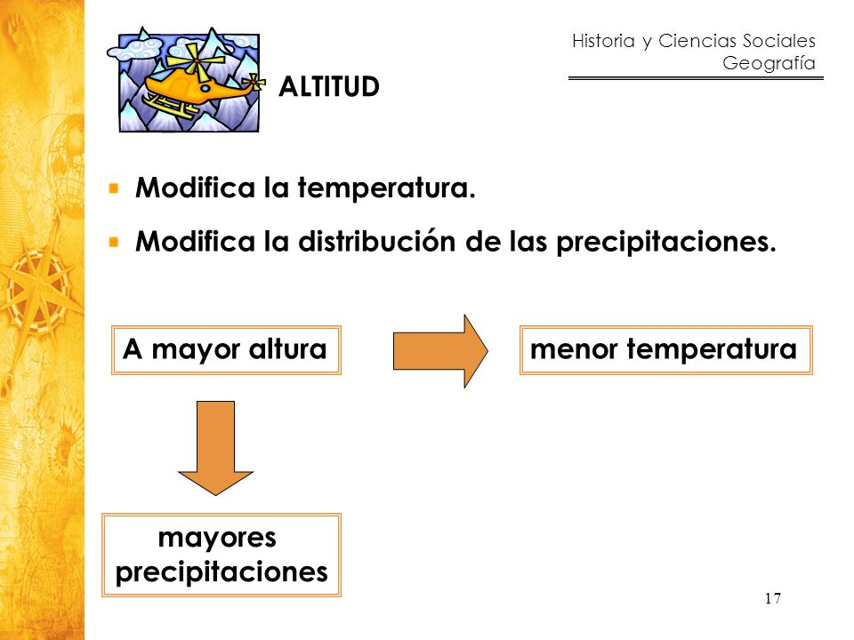 ALTITUD Modifica la temperatura. Modifica la distribución de las precipitaciones. A mayor altura.