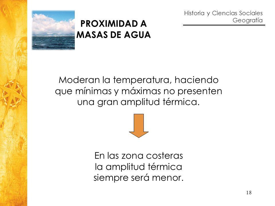 PROXIMIDAD A MASAS DE AGUA. Moderan la temperatura, haciendo que mínimas y máximas no presenten una gran amplitud térmica.