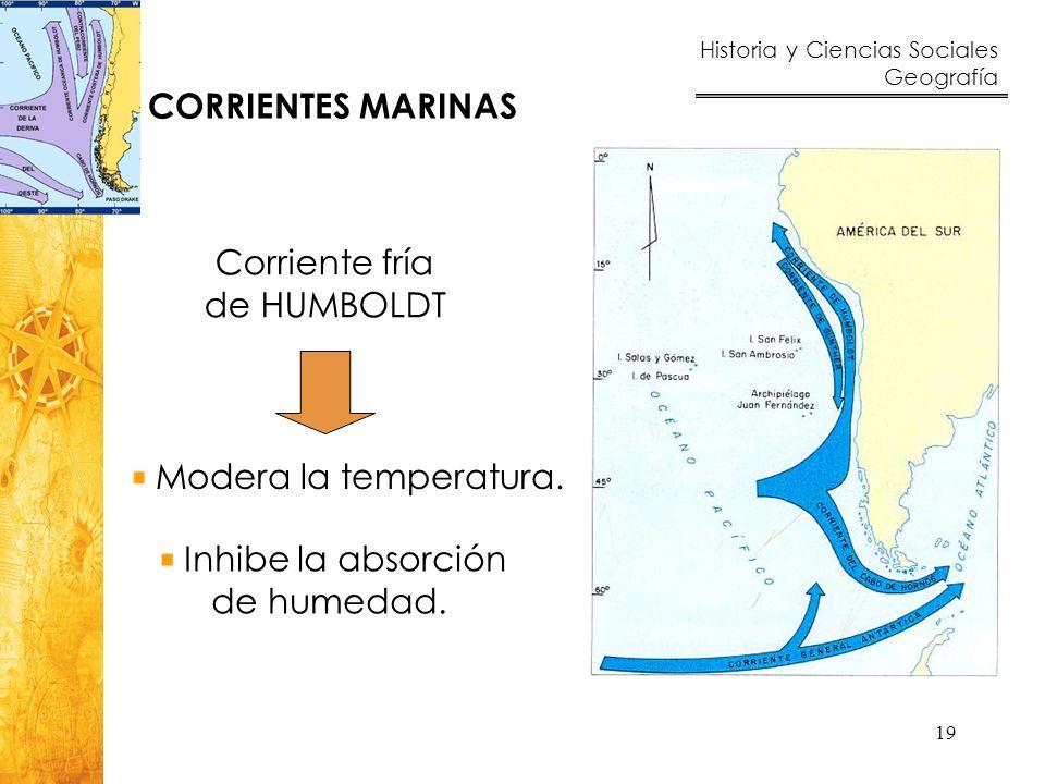 CORRIENTES MARINAS Corriente fría. de HUMBOLDT. Modera la temperatura.