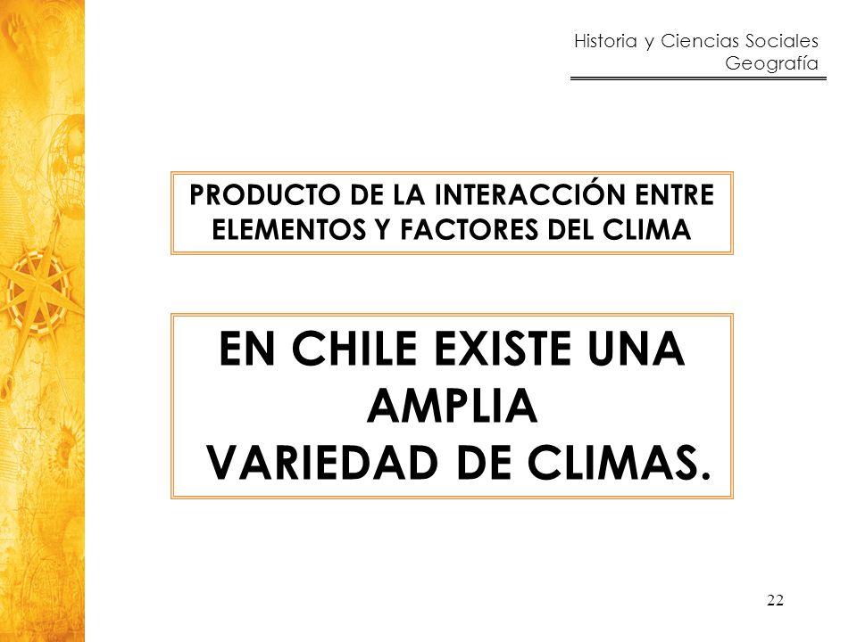 EN CHILE EXISTE UNA AMPLIA VARIEDAD DE CLIMAS.