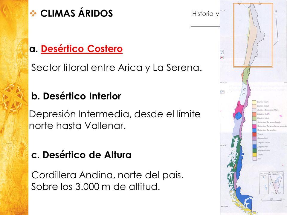 Sector litoral entre Arica y La Serena.