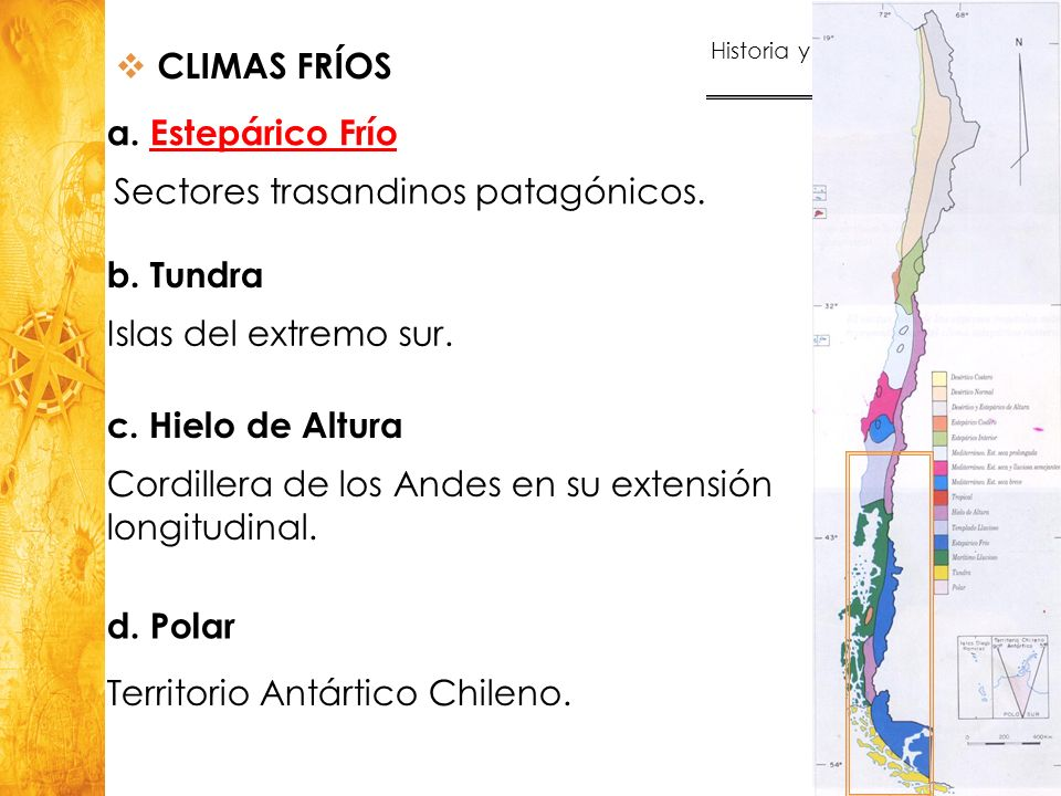 CLIMAS FRÍOS a. Estepárico Frío. Sectores trasandinos patagónicos. b. Tundra. Islas del extremo sur.