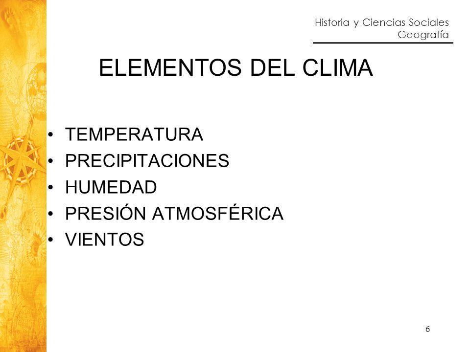 ELEMENTOS DEL CLIMA TEMPERATURA PRECIPITACIONES HUMEDAD