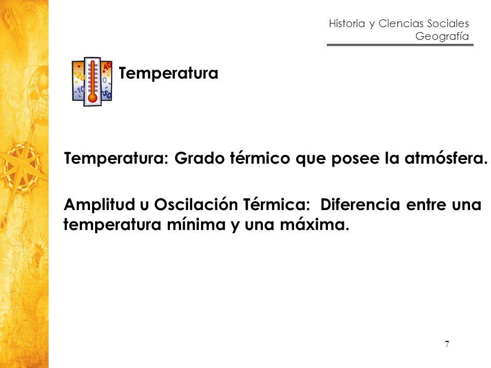 Temperatura: Grado térmico que posee la atmósfera.