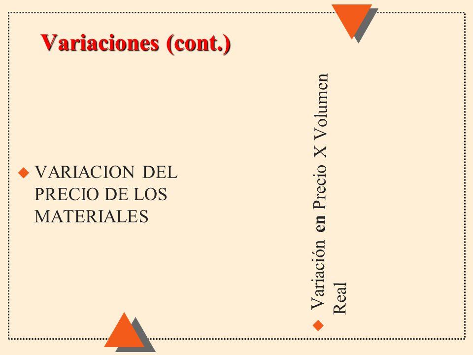 Variaciones (cont.) Variación en Precio X Volumen Real