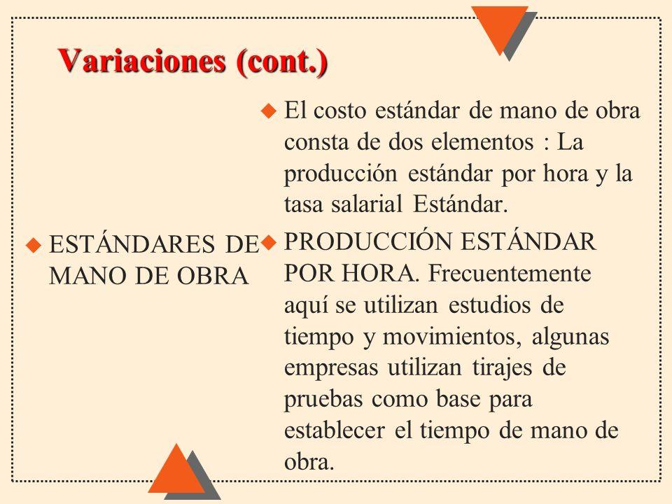 Variaciones (cont.) El costo estándar de mano de obra consta de dos elementos : La producción estándar por hora y la tasa salarial Estándar.