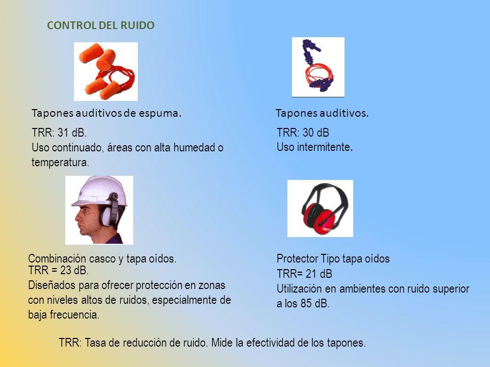 CONTROL DEL RUIDO Tapones auditivos de espuma. Tapones auditivos. TRR: 31 dB. Uso continuado, áreas con alta humedad o temperatura.