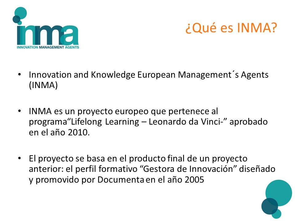 ¿Qué es INMA Innovation and Knowledge European Management´s Agents (INMA)