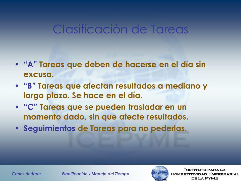Clasificaciòn de Tareas