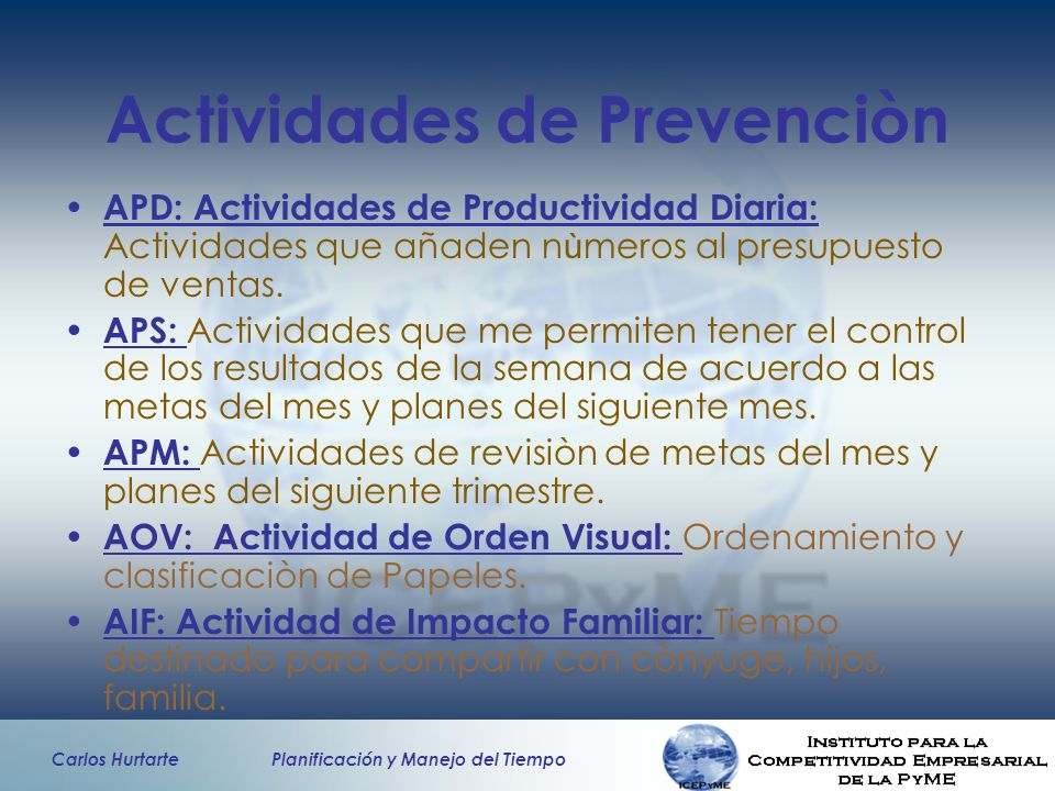 Actividades de Prevenciòn