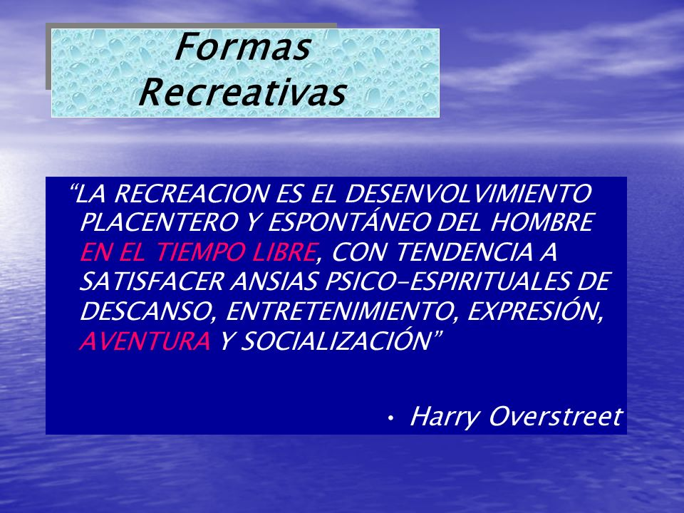 Formas Recreativas Harry Overstreet