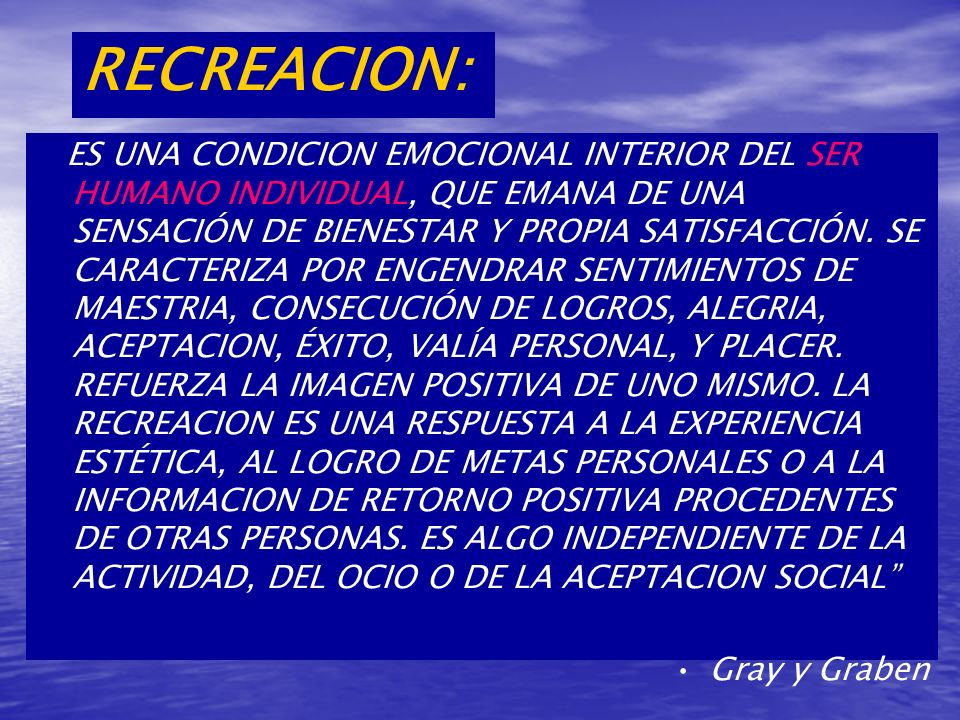 RECREACION: