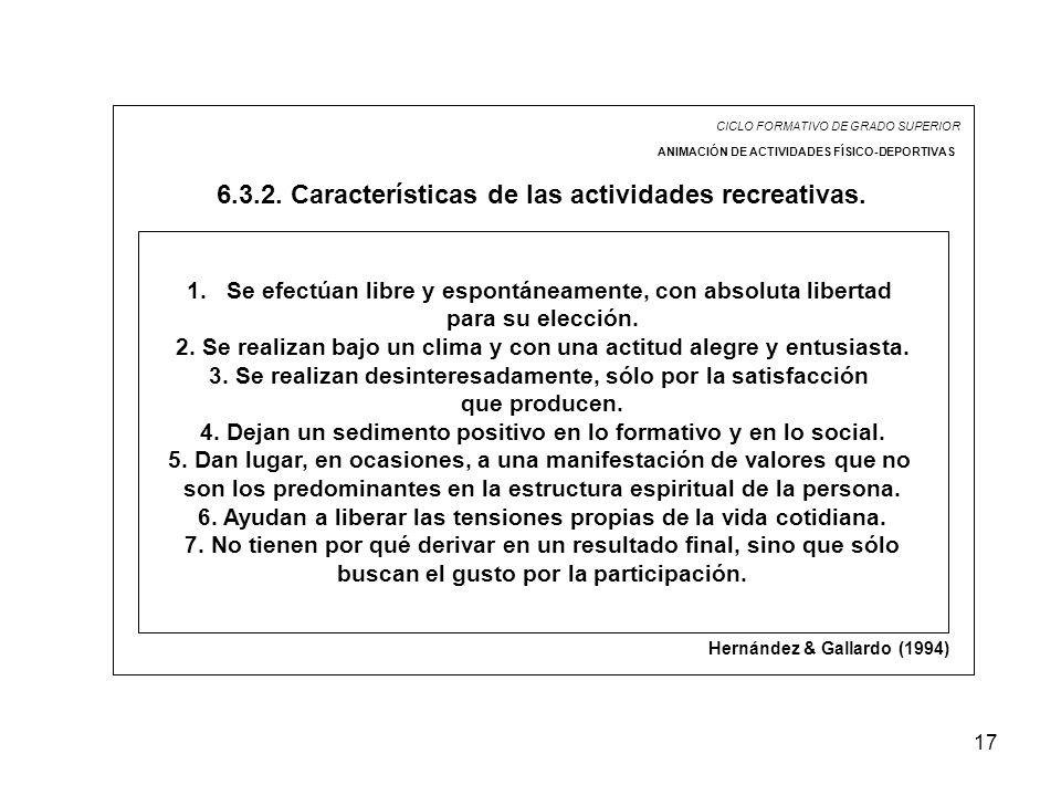 6.3.2. Características de las actividades recreativas.