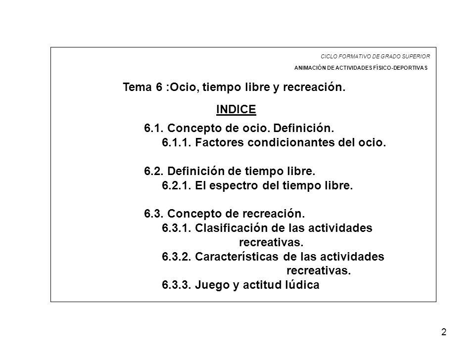 Tema 6 :Ocio, tiempo libre y recreación.