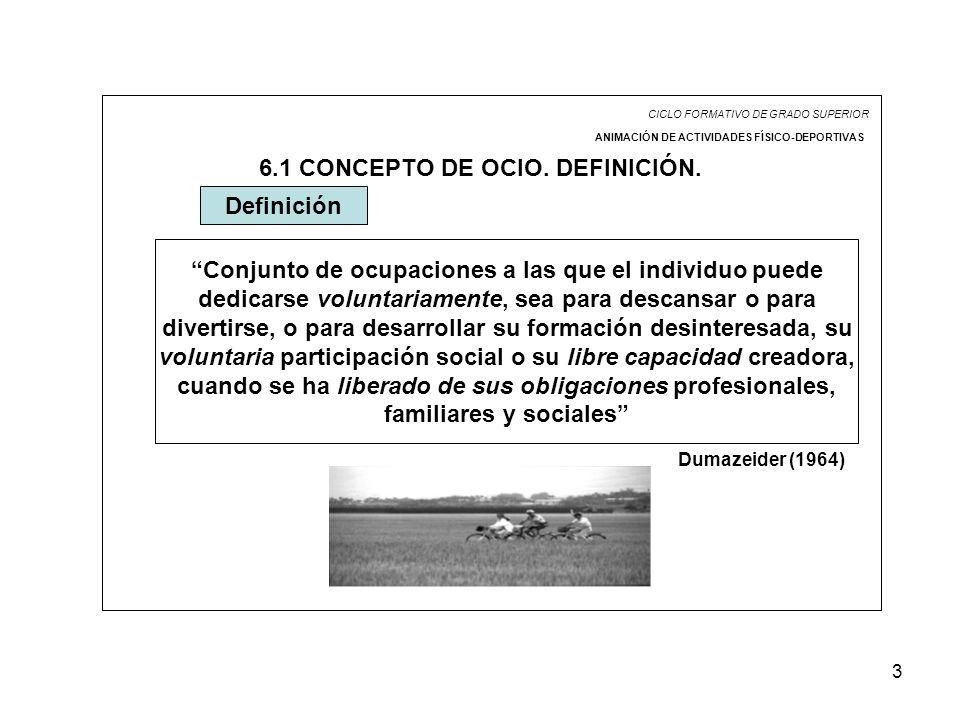 6.1 CONCEPTO DE OCIO. DEFINICIÓN.