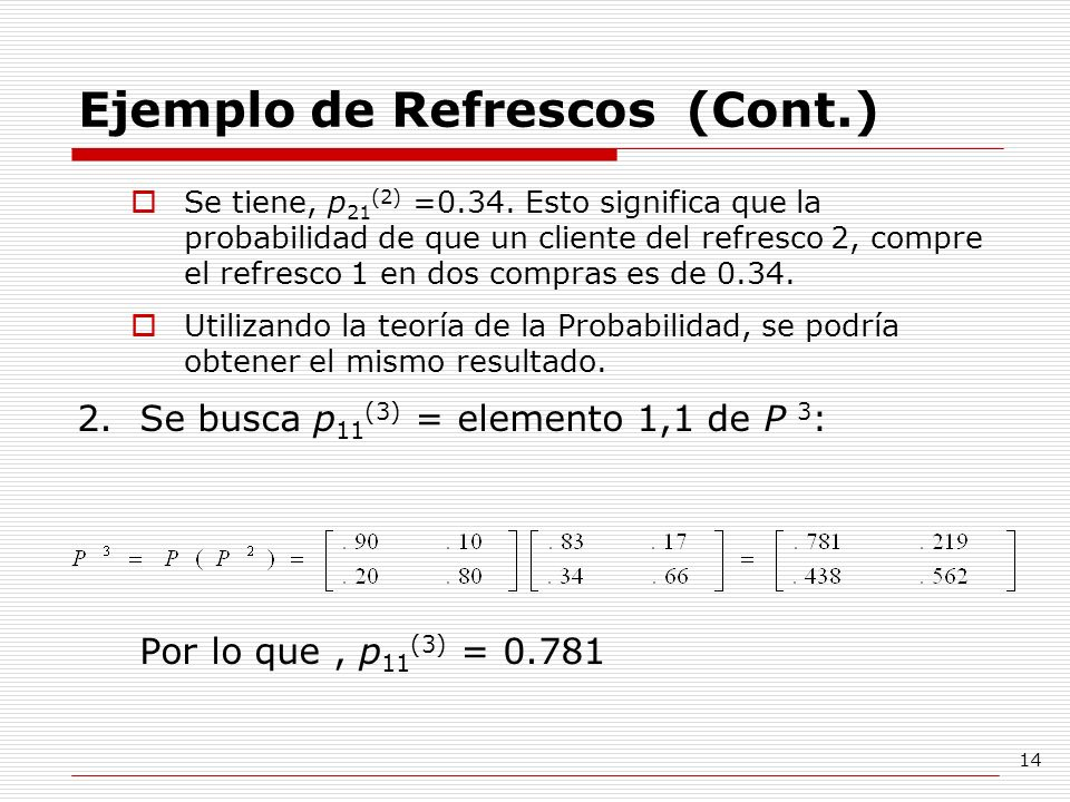 Ejemplo de Refrescos (Cont.)