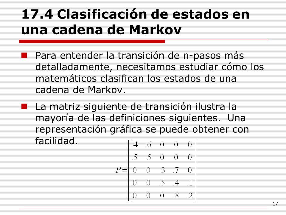 17.4 Clasificación de estados en una cadena de Markov