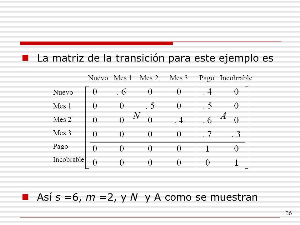 La matriz de la transición para este ejemplo es