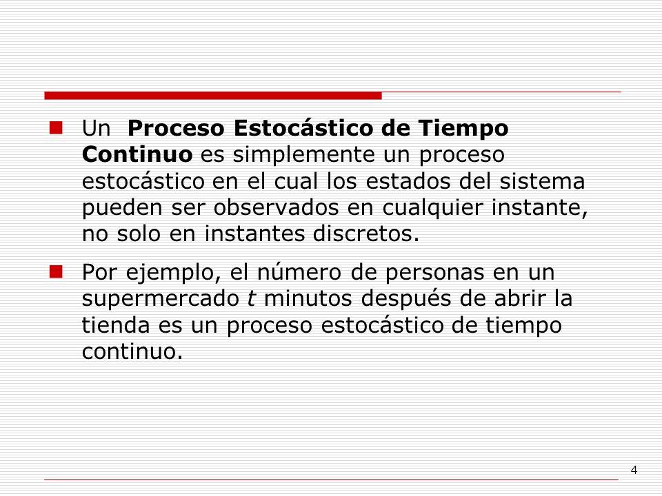 Un Proceso Estocástico de Tiempo Continuo es simplemente un proceso estocástico en el cual los estados del sistema pueden ser observados en cualquier instante, no solo en instantes discretos.
