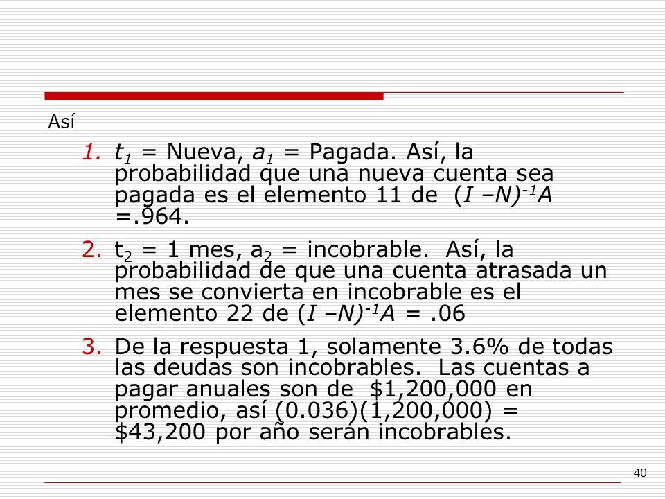 Así t1 = Nueva, a1 = Pagada. Así, la probabilidad que una nueva cuenta sea pagada es el elemento 11 de (I –N)-1A =.964.