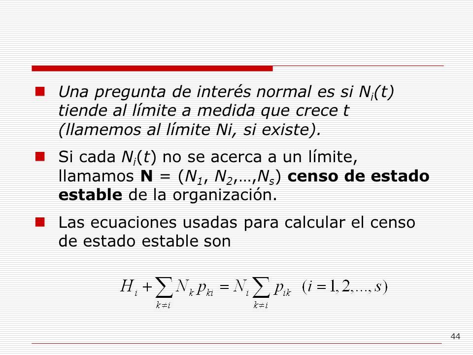 Una pregunta de interés normal es si Ni(t) tiende al límite a medida que crece t (llamemos al límite Ni, si existe).