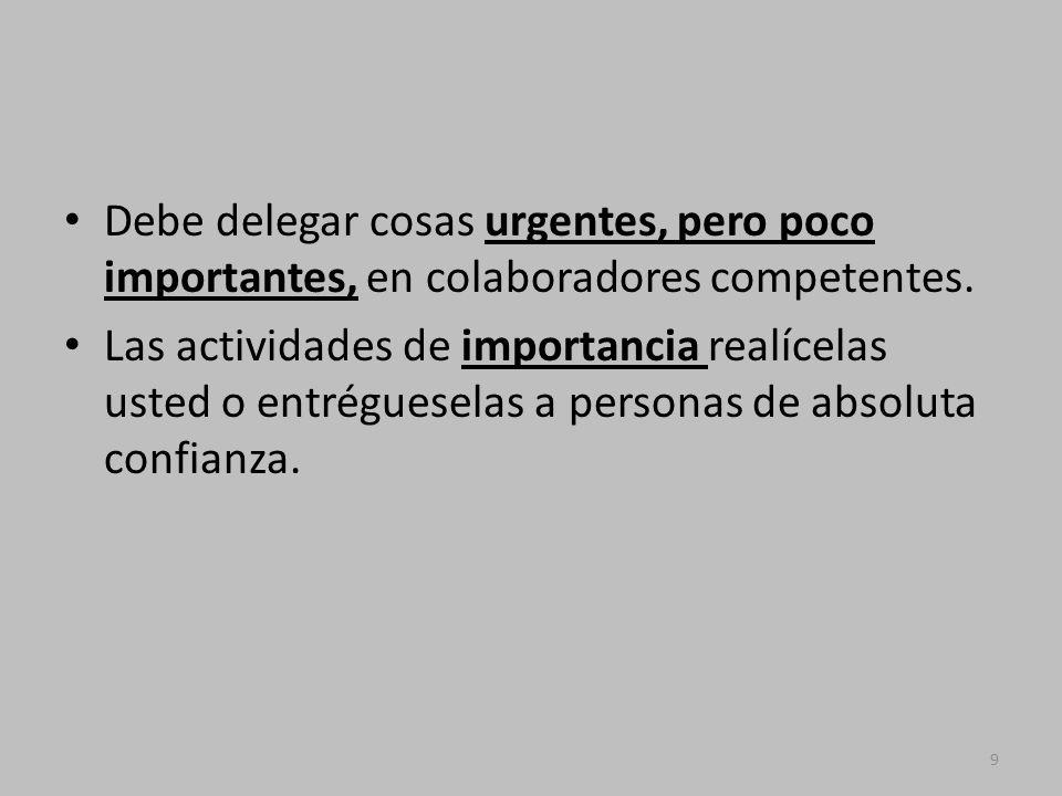 Debe delegar cosas urgentes, pero poco importantes, en colaboradores competentes.