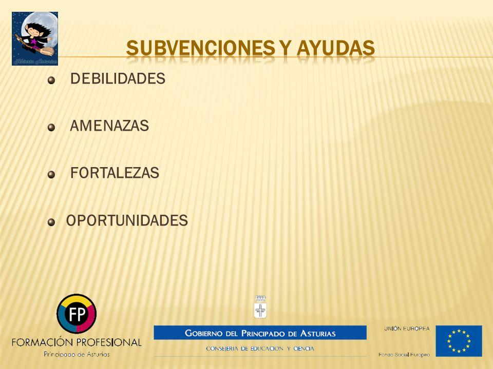 SUBVENCIONES Y AYUDAS DEBILIDADES AMENAZAS FORTALEZAS OPORTUNIDADES